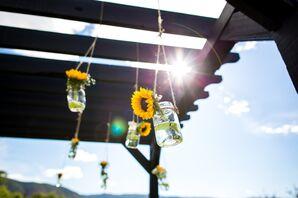 Hanging-Sunflower Wedding Ceremony Decor