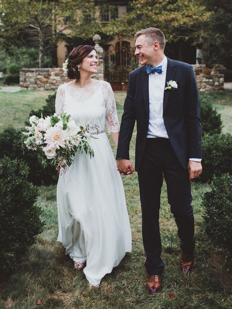 winter wedding dress with lace and long sleeves