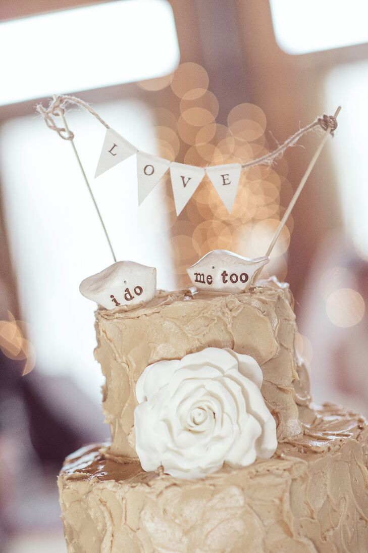 Bird Wedding Cake Toppers with Rosette Detail