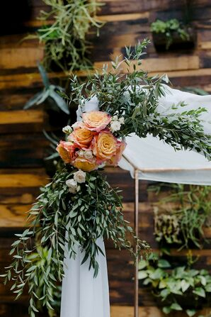 Chuppah with Roses and Greenery for Brooklyn, New York, Elopement