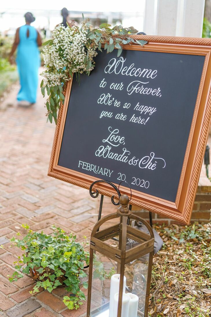 Welcome Sign for Rustic Wedding in Orlando, Florida