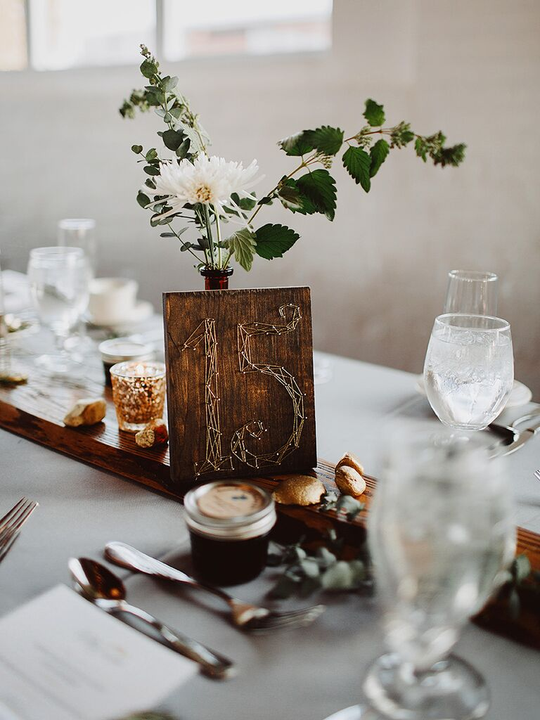 DIY string art wedding reception table numbers