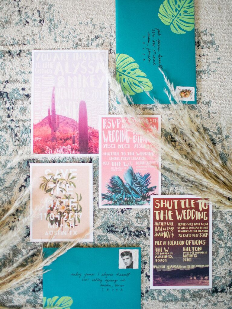 Wedding invitation trends bright colors