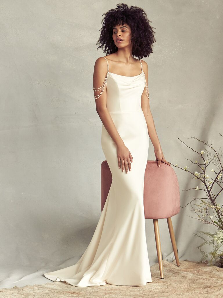 Savannah Miller Spring 2020 Bridal Collection sheath wedding dress with draped shoulder straps