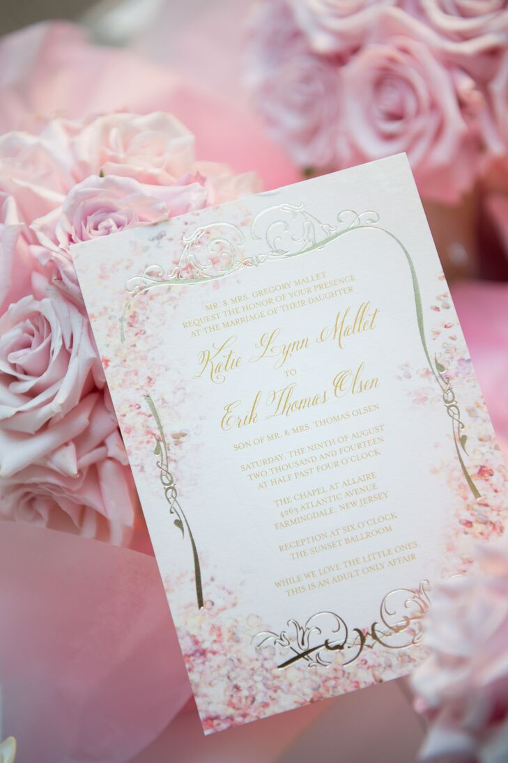"The wedding's theme was ""Garden Romance,"" spurring Katie and Erik to choose whimsical, garden-inspired invitations decorated with pretty pink blooms."