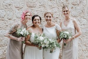Brides with Bridesmaids in Blush holding White Bouquets