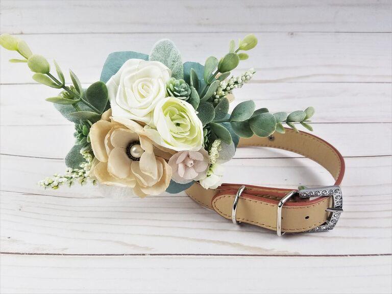 Faux flowers dog wedding collar