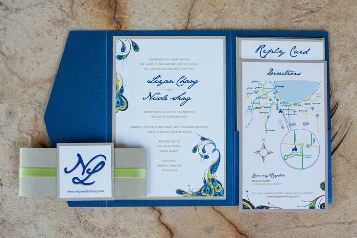 "Jeanette Pe created the peacock inspired stationary, including invitations, programs, and menus. Nicole and her bridesmaids met every month before the wedding to assemble all the elements, which Nicole said saved her a lot of money and ""made our wedding more personal."""