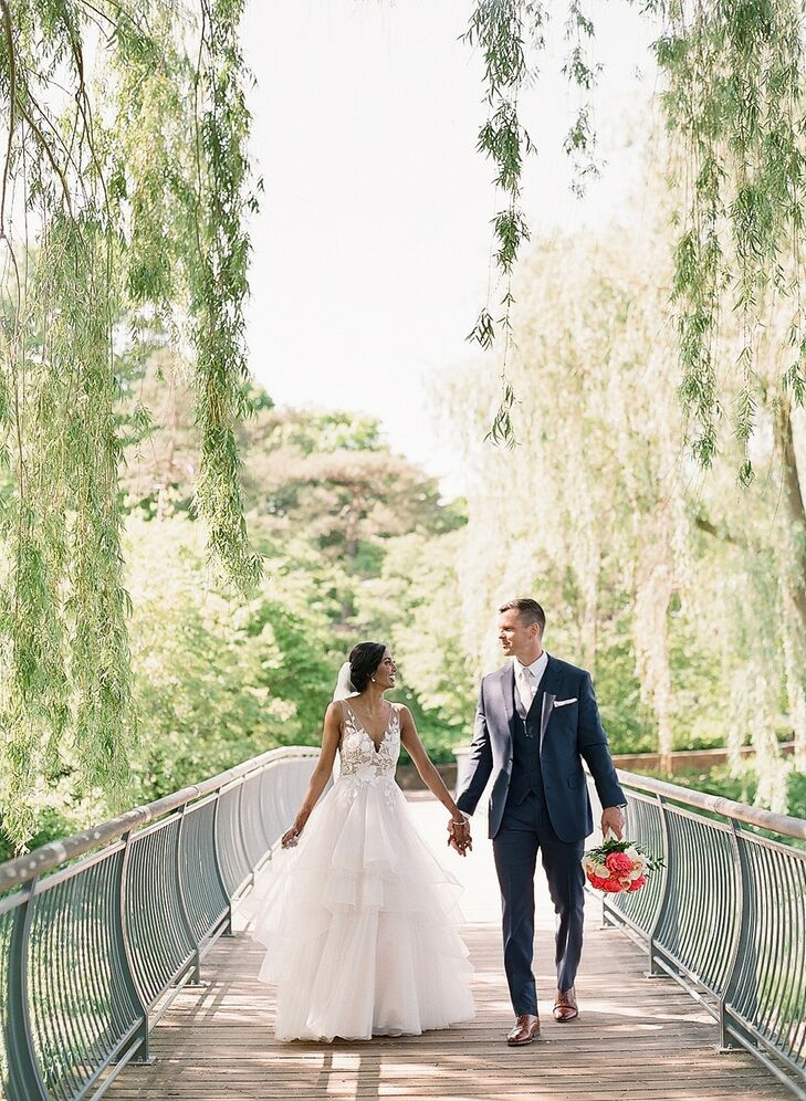 Classic Couple with Elegant Ballgown and Slate Blue Suit
