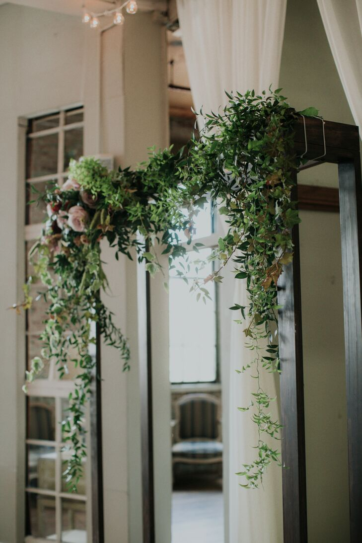 Dark Wood Chuppah with Greenery, Ivy and Roses