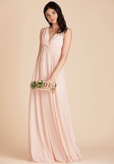 Birdy Grey Lianna Mesh Dress in Pale Blush V-Neck Bridesmaid Dress