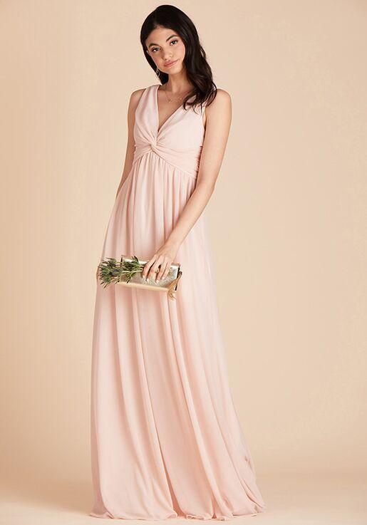 Birdy Grey Lianna Mesh Dress in Pale Blush V-Neck Bridesmaid Dress