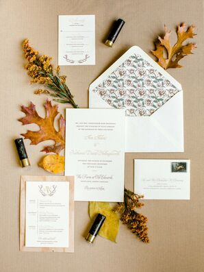 Rustic Wedding Invitation with Patterned Envelope Liner