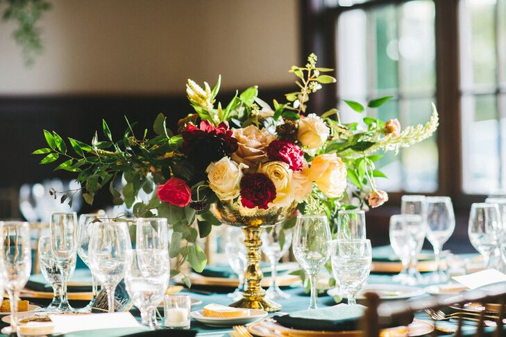 Romantic Rose and Greenery Centerpieces in Gold Footed Vases