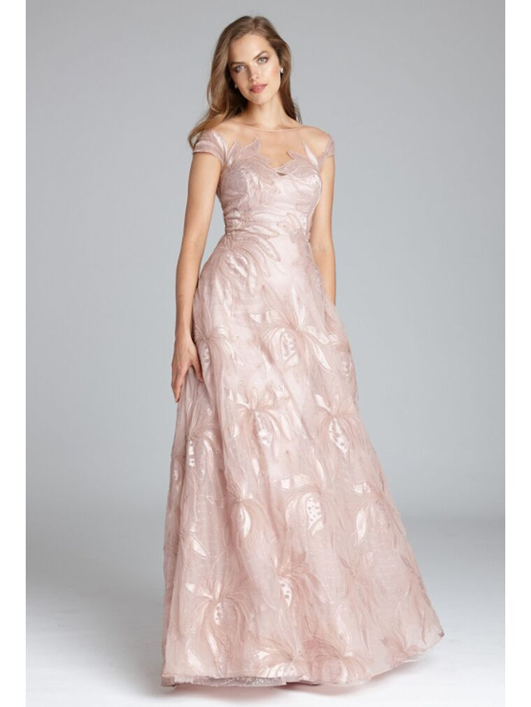 Blush A-line evening dress with illusion neckline