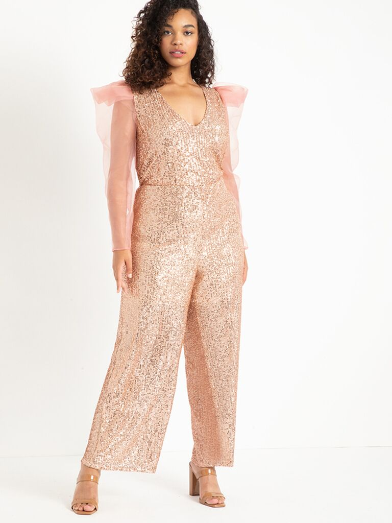 Rose gold glitter jumpsuit with long sheer organza sleeves
