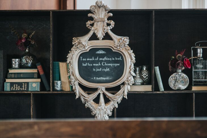 """F. Scott Fitzgerald quotes, a nod to the couple's """"Great Gatsby"""" theme, were written on vintage chalkboards and incorporated throughout the Southern Railway Station in Knoxville, Tennessee."""