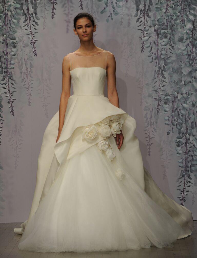 Monique Lhuillier wedding dress Fall 2016 Ivory silk gazaar sleeveless illusion natural waist ball gown with cascading peplum and rosette detail
