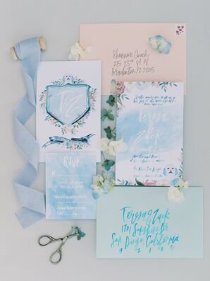 Blue Watercolor Invitations for Beach Wedding in San Diego