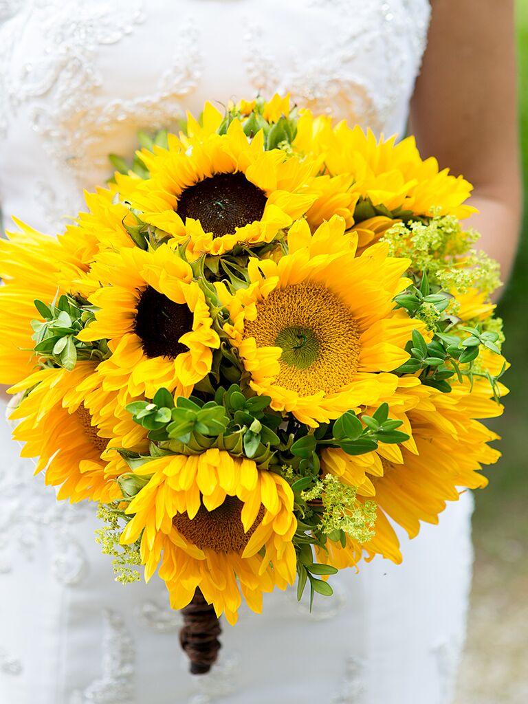 A sunflower bridal bouquet