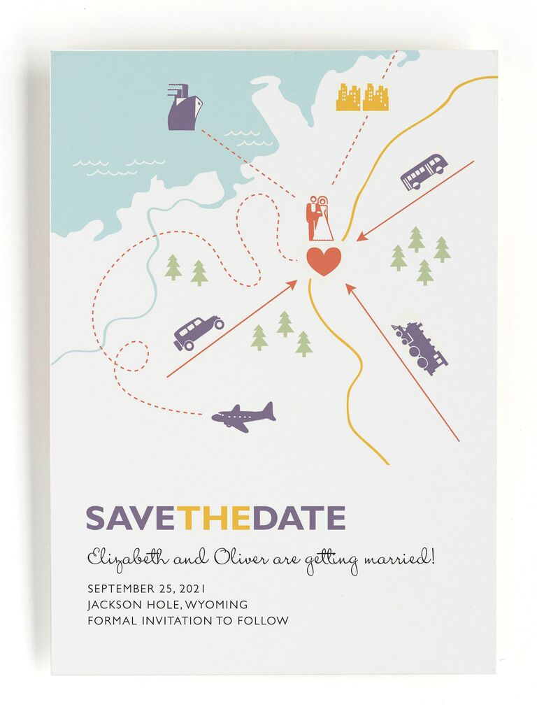 Minted map destination wedding save-the-date