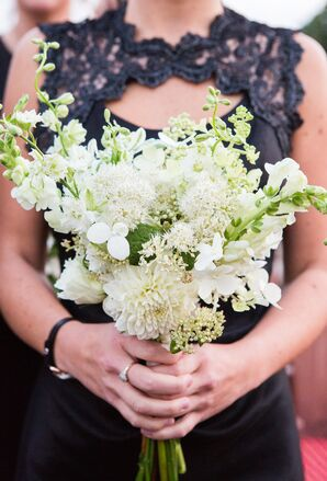 Textured White Dahlia, Wildflower and Delphinium Bouquet