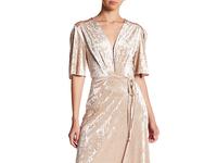 Nordstrom Rack velvet champagne rehearsal dinner gown