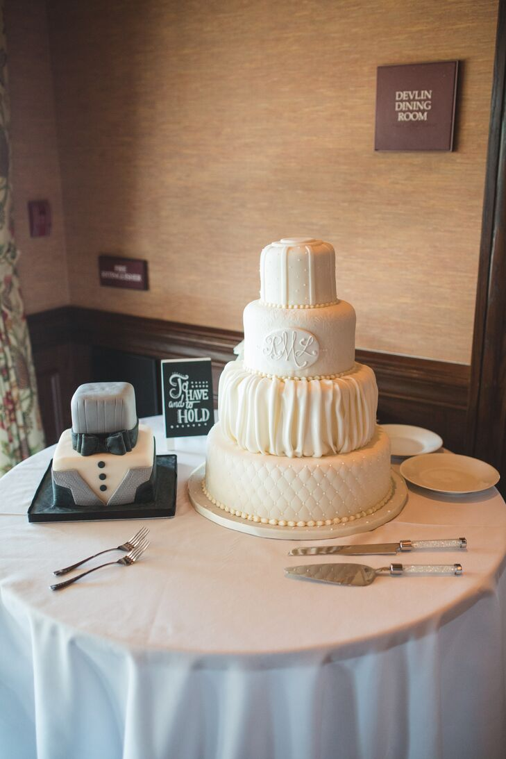 Wedding Cake And Grooms Cake Table