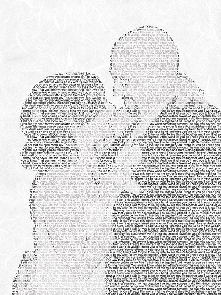 An image of a smiling pair made out of song lyrics