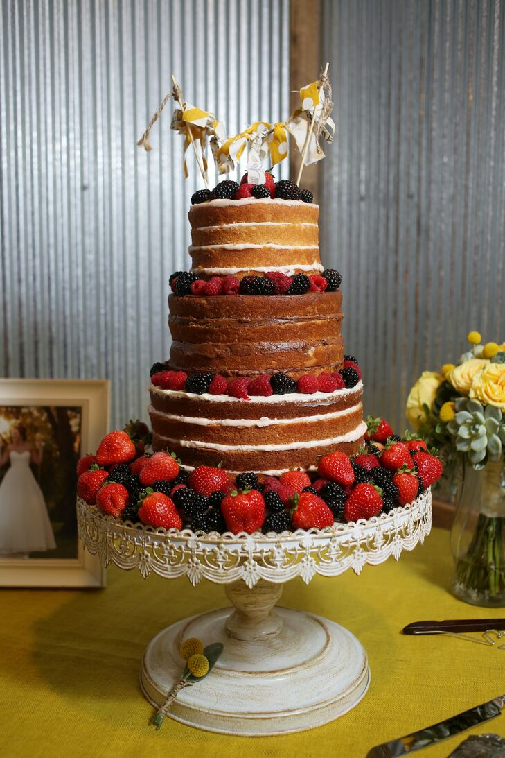 Three-Tiered Naked Cake with Fresh Berries
