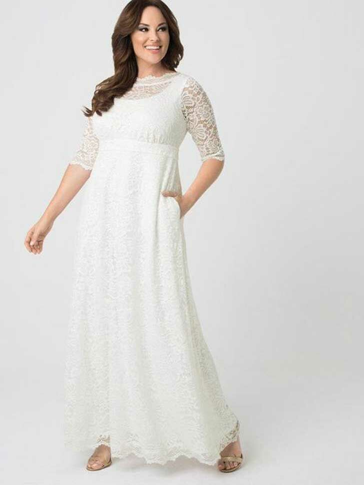 Simple lace A-line wedding dress with three-quarter length lace sleeves