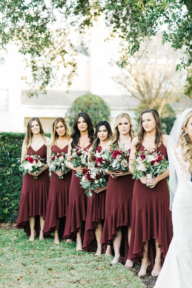 Burgundy High-Low Bridesmaids Dresses