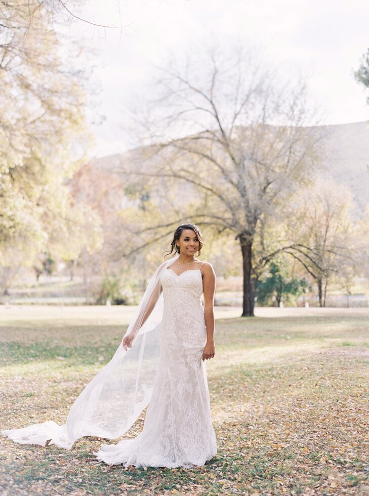 """My dress was designed by Justin Alexander,"" Danika says. ""The fabric was lace on the outside with an inner slip that was a nude color that paired really well with my skin complexion. It was pretty slimming throughout with a beautiful lace tail that continued without the slip underneath."""