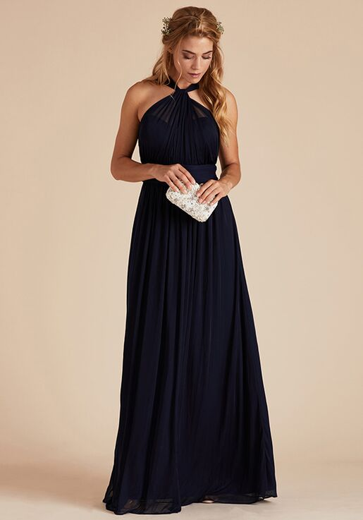 Birdy Grey Kiko Mesh Dress in Navy Halter Bridesmaid Dress