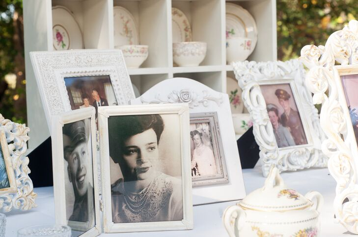 At the reception, the couple displayed photos of their parents and grandparents on their own wedding day.