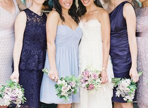 Bridesmaids in Different Styles and Shades of Purple