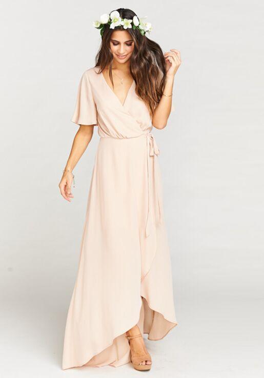 c887c19748a Show Me Your Mumu Sophia Wrap Dress - Dusty Blush Crisp V-Neck Bridesmaid  Dress
