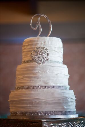 Three-Tier Wedding Cake With Ruffled Buttercream