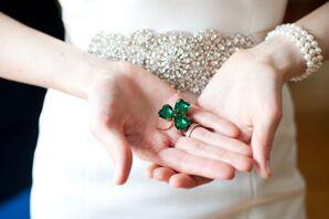 Emerald Green Shamrock Pin