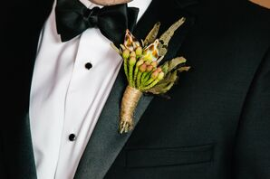 Rustic Feather and Berries Boutonniere