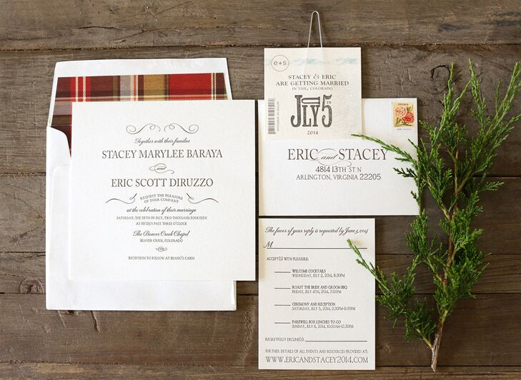 The invitation was designed by Stacey with the help of Digby and Rose in Washington, DC. The invitations were black letterpress on thick white stock paper. The envelope liner was the same signature plaid the couple used throughout the decor, which set the tone for the event. The save-the-date was a booklet that when guests tore open to reveal plenty of information and a ski lift ticket with their wedding date!
