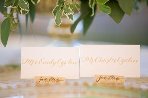 Wine-Cork Escort Cards with Gold Calligraphy