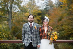 Bride in Classic Short Gown, Groom in Vintage Plaid Suit