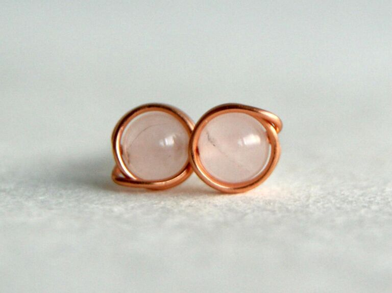 copper and rose quartz earrings 7th anniversary gift
