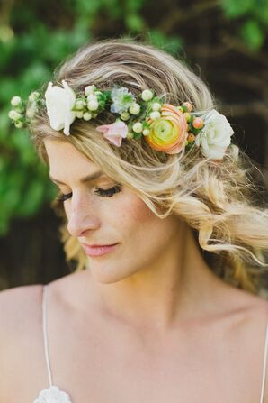 Ranunculus and Rose Flower Crown
