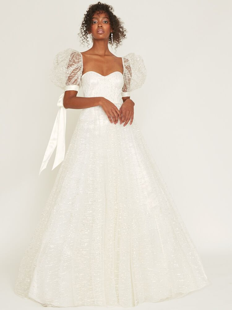 Odylyne The Ceremony glittery mesh tulle ball gown with sweetheart neckline