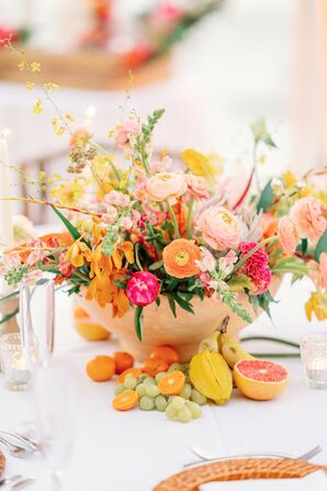 Tropical Centerpiece With Fresh Fruit, Ranunculus and Anthurium