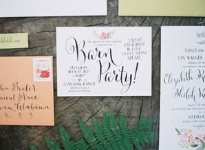 Calligraphy and Floral Watercolor Wedding Invitation