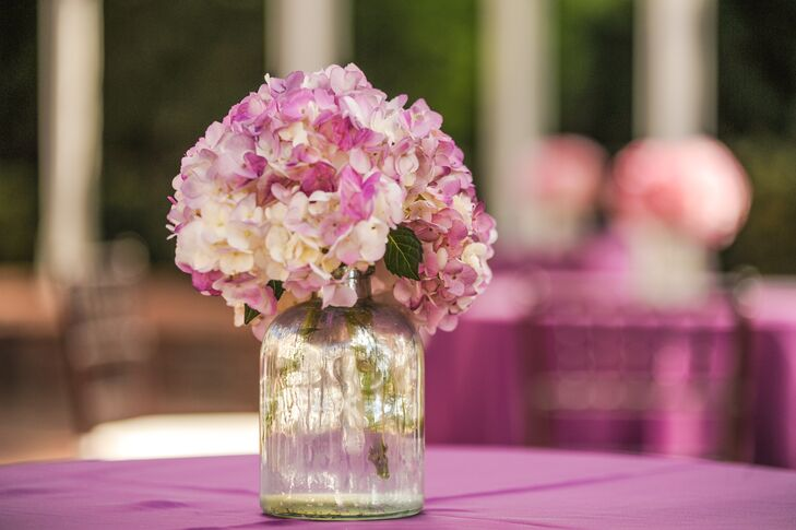 Purple Hydrangea Cocktail Tables Centerpiece