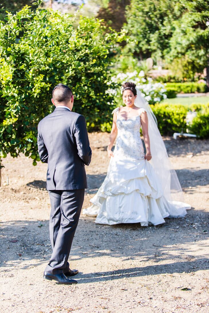 Bride Greets her Groom for the First Look